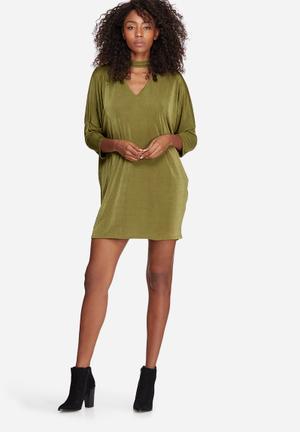 Missguided Oversized Choker Neck Slinky Dress Casual Khaki
