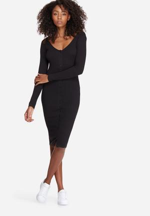 Missguided Ribbed Button Down Midi Dress Casual Black