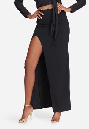 Missguided Stretch Crepe Split Side Maxi Skirt Black