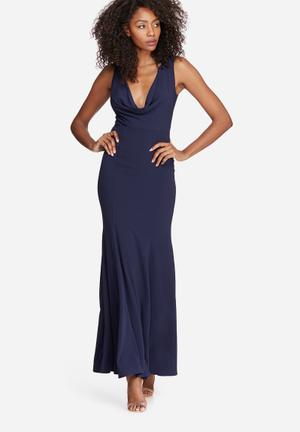 Missguided Cowl Neck Maxi Dress Occasion Navy