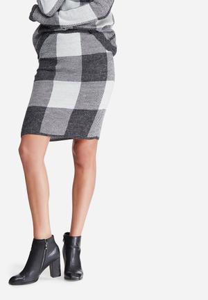 Jacqueline De Yong Rubin Skirt Grey & White