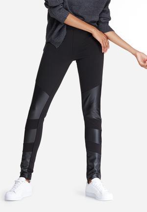 Vero Moda Stronger PU Insert Pants Trousers Black