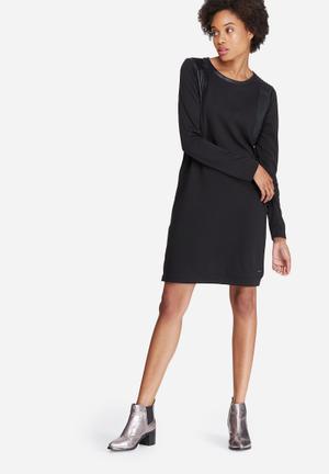 Vero Moda Cool Coating PU Inset Dress Formal Black