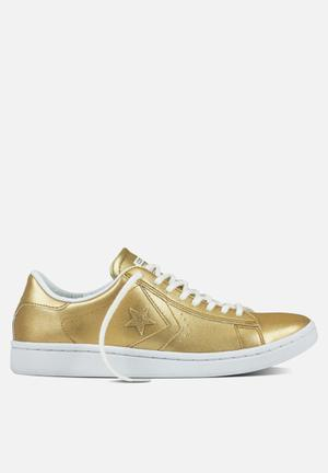 Converse Cons SLS PL LP Metallic Leather L OX Sneakers Light Gold/White