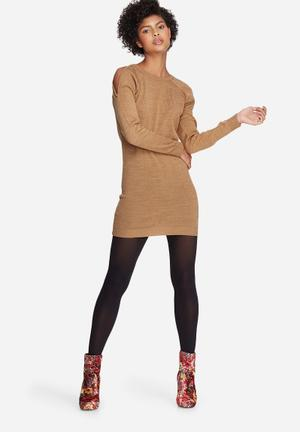 Dailyfriday Cold Shoulder Knit Dress Casual Camel