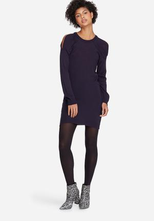 Dailyfriday Cold Shoulder Knit Dress Casual Navy