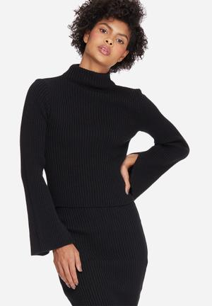 Dailyfriday Split Sleeve Funnel Neck Knitwear Black