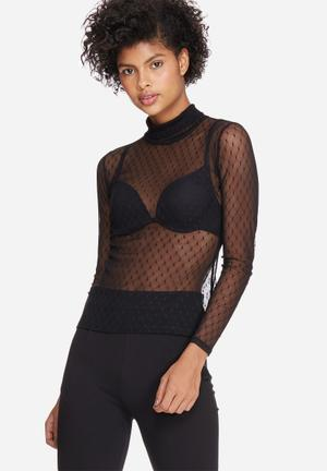 Dailyfriday Dobby Mesh Turtle Neck T-Shirts, Vests & Camis Black