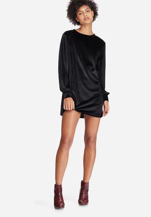 Dailyfriday Velvet Sweat Dress Casual Black