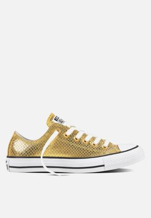 Converse Chuck Taylor All Star Metallic Snake Leather L OX Sneakers Gold/Black/White