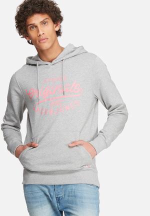 Jack & Jones Originals Finish Hood Sweat Hoodies & Sweatshirts Grey & Pink