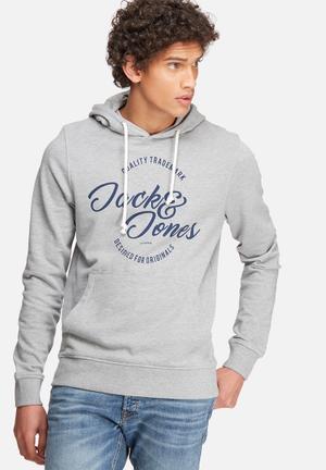 Jack & Jones Originals Raffa Hood Sweat Hoodies & Sweatshirts Grey Melange