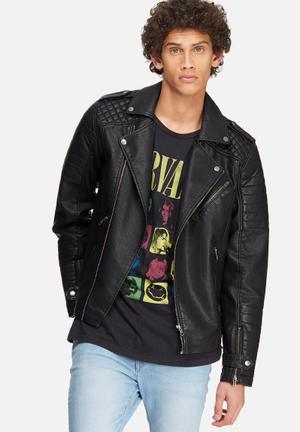Jack & Jones Originals Pistol Punk Biker Jacket Black