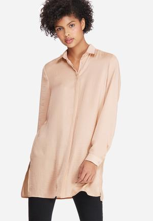 Dailyfriday Silky Longer Length Shirt Dusty Pink