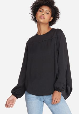 Dailyfriday Pleat Back Blouse Black