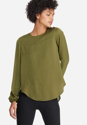 Dailyfriday Pleat Back Blouse Olive