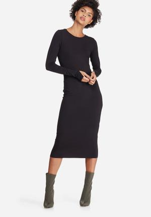 Dailyfriday Scoop Back Bodycon Dress Casual Black