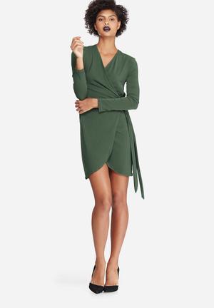 Dailyfriday Wrap Mini Dress Occasion Khaki