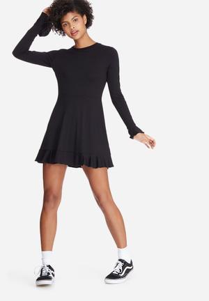 Dailyfriday Frill Hem Skater Dress Casual Black