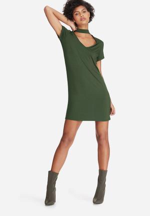 Dailyfriday Choker Detail Dress Casual Khaki
