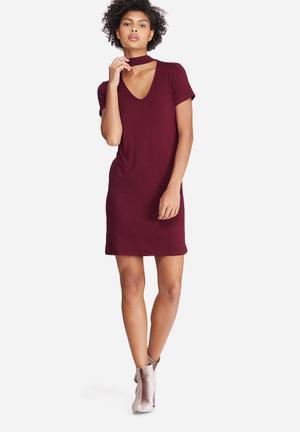 Dailyfriday Choker Detail Dress Casual Burgundy