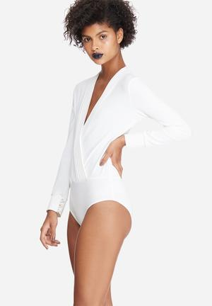 Dailyfriday Formal Wrap Bodysuit T-Shirts, Vests & Camis White