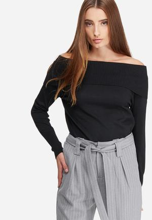 ONLY Kara Off-shoulder Knit Knitwear Black