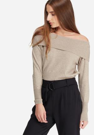 ONLY Kara Off-shoulder Knit Knitwear Light Brown