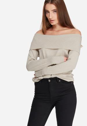 ONLY Kara Off-shoulder Knit Knitwear Oatmeal