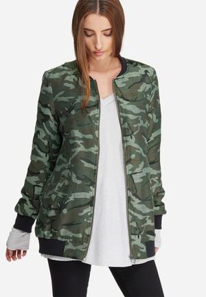 ONLY Joyce Camo Jacquard Bomber Jackets Green & Black