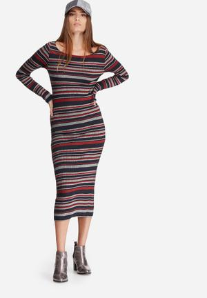 ONLY Brooky Dress Casual Red, Black & White