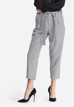 ONLY Maggie Belted Pinstripe Pants Trousers Grey & White
