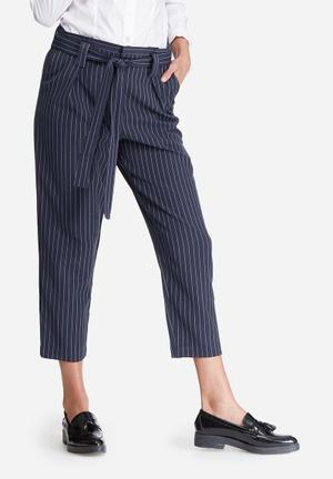 ONLY Maggie Belted Pinstripe Pants Trousers Navy & White