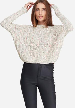 Noisy May Fab Knit Knitwear White & Pink