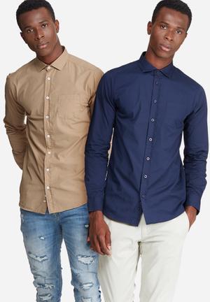Basicthread 2-Pack Plain Long Sleeve Poplin Shirt Stone & Navy