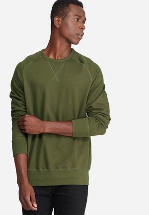 Basicthread Basic Pullover Crew Sweat Hoodies & Sweatshirts Olive