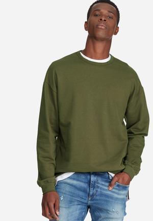 Basicthread Oversized Drop Shoulder Pullover Crew Sweat Hoodies & Sweatshirts Olive