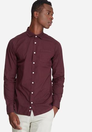 Basicthread Slim Fit Poplin Shirt Burgundy