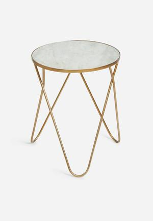 Sixth Floor Marble Copper Side Table Mild Steel With Copper Finish & Marble