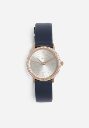 DKNY Willoughby Watches Navy Blue & Rose Gold