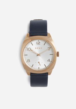 DKNY Broome Watches Rose Gold And Navy Blue Band
