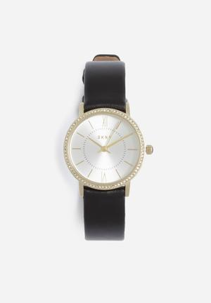 DKNY Willoughby Mini Watches Gold With Black Band