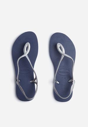 Havaianas Luna Sandals & Flip Flops Navy & Silver