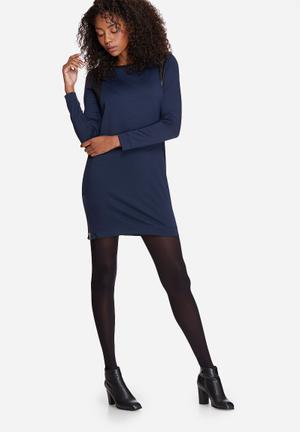 Vero Moda PU Inset Dress Formal Navy & Black