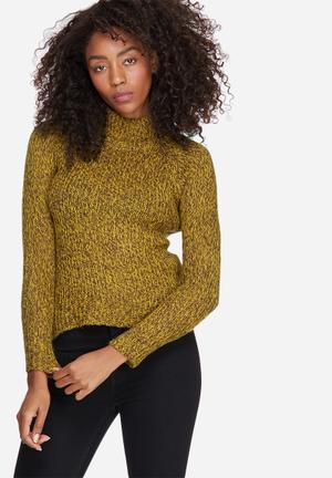 Vero Moda Camille Funnel Neck Knit Knitwear Yellow & Brown