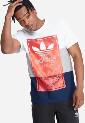Adidas Originals Tounge Tee T-Shirts White, Grey, Navy & Red