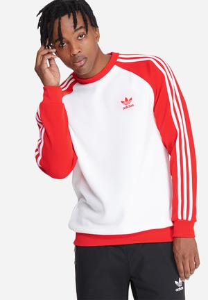 Adidas Originals SST Crew Sweat Hoodies & Sweatshirts Red & White