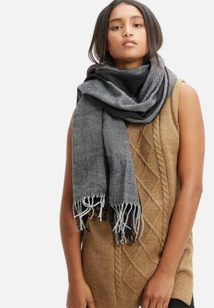 Vero Moda Chicka Long Scarf Black & Grey