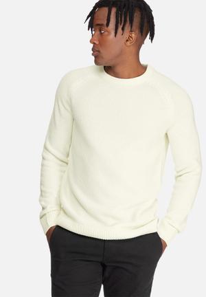 Jack & Jones Premium Martin Crew Knit Knitwear White