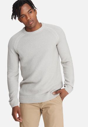 Jack & Jones Premium Martin Crew Knit Knitwear Grey